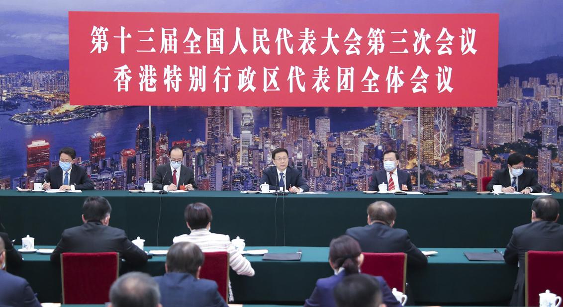 韩正参加全国人大香港代表团审议